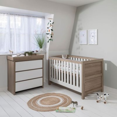 Tutti Bambini Modena 2 Piece Nursery Room Set/Mattress/Accessories - White and Oak