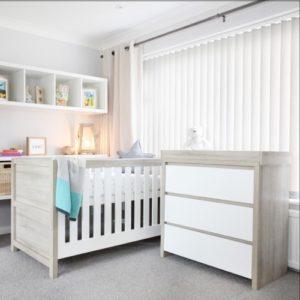 tutti bambini modena 2 piece nursery room set white and oak