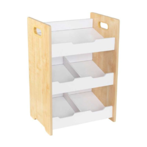 Angled Bin Unit - Natural with White Shelves1