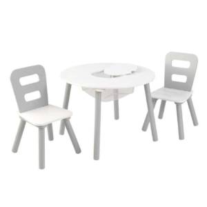 Kidkraft Round Storage Table & 2 Chair Set - Gray & White