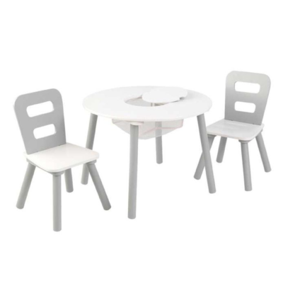 Kidkraft Round Storage Table & 2 Chair Set - Gray & White