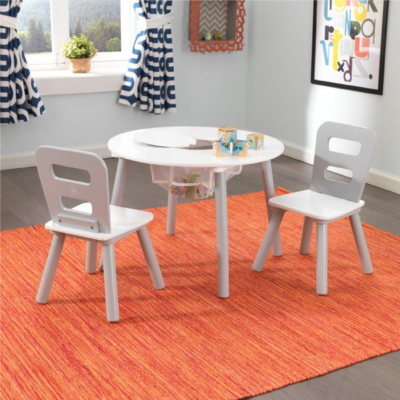 Kidkraft Round Storage Table & 2 Chair Set - Gray & White1