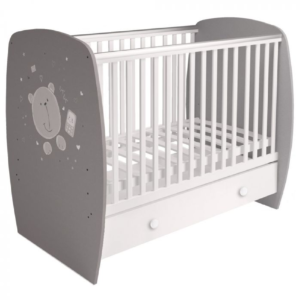 Kudl Kids, Baby Cot French 710 Teddy Print Grey White