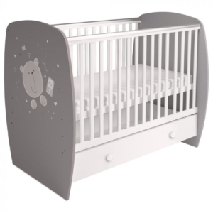 Kudl Kids, Baby Cot French 710 Teddy Print Grey White1