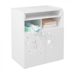 Kudl Kids, Changing Board Cupboard with Storage 1270, Teddy Print - White