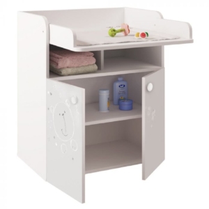 Kudl Kids, Changing Board Cupboard with Storage 1270, Teddy Print - White1