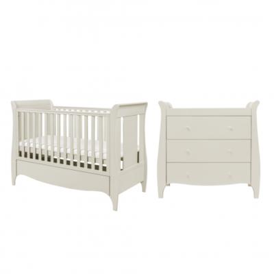 tutti bambini roma 2 piece sleigh nursery room set linen