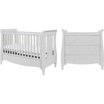tutti bambini roma sleigh 2 piece nursery room set in dove grey