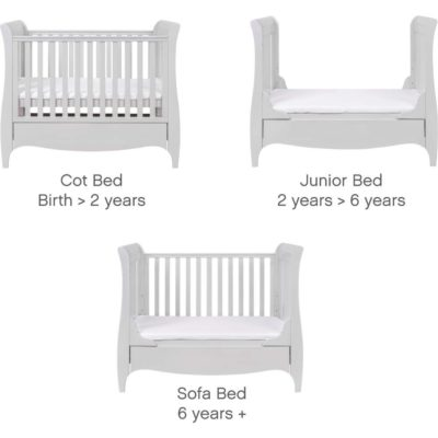 tutti bambini roma sleigh cot bed sizes in dove grey