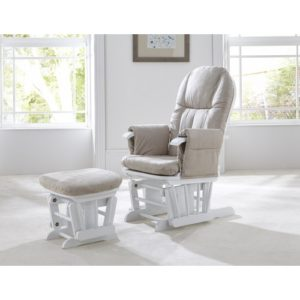 Tutti Bambini GC35 Reclining Glider Chair And Stool   White With Cream  Cushions