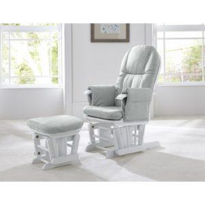 tutti bambini gc35 glider chair white with grey cushions