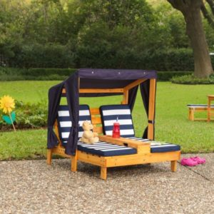Kidkraft Double Chaise Lounge with Cup Holders - Honey & Navy1
