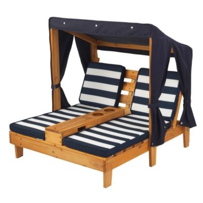 Kidkraft Double Chaise Lounge with Cup Holders - Honey & Navy3