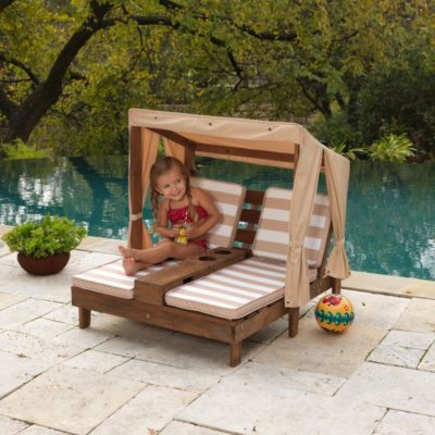 Kidkraft Double Chaise Lounge with Cupholders - Espresso & Oatmeal