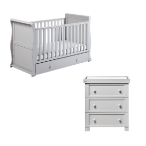 East Coast Alaska 2 Piece Nursery Room Set with Under Drawer - Grey