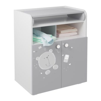 Kudl Kids Changing Board Cupboard with Storage Teddy Print - WhiteGrey