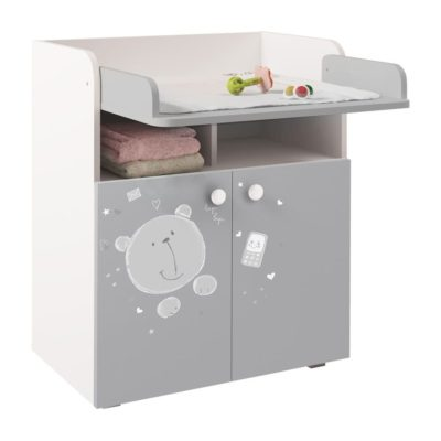 Kudl Kids Changing Board Cupboard with Storage Teddy Print - WhiteGrey1