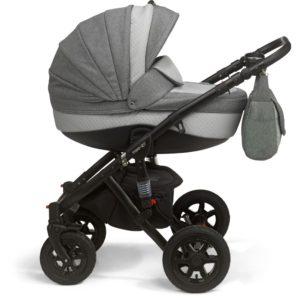 Mee-go Milano Black Sports Chassis Dove Grey Pram