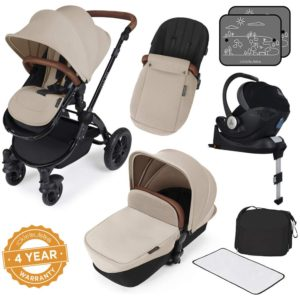 Stomp V3_i-Size_All in One with Isofix_Black Frame_Sand complete set