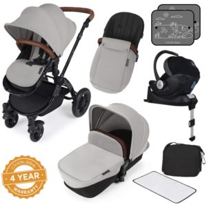 Stomp V3_i-Size_All in One with Isofix_Black Frame_Silver_ complete set