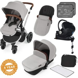 Stomp V3_i-Size_All in One with Isofix_Silver Frame_Silver complete set