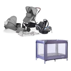 Kinderkraft Moov Travel System and Travel Cot Bundle - Cool Grey