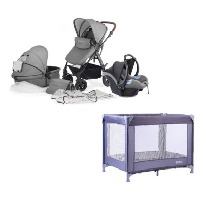 Kinderkraft Moov Travel System and Travel Cot Bundle - Cool Grey