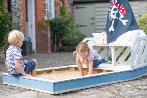 Plum Wooden Sandpit and Bench