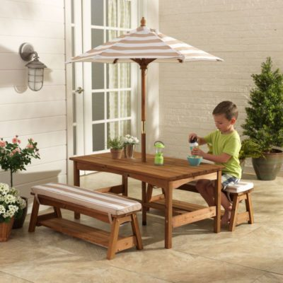 Kidkraft Outdoor Table & Bench Set with Cushions & Umbrella - Oatmeal & White Stripes