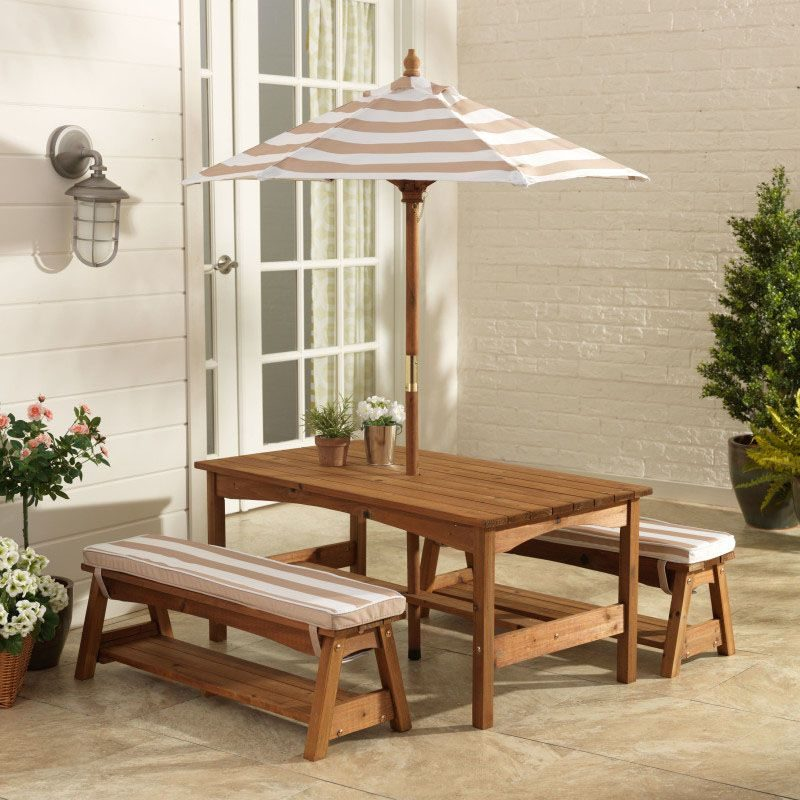 Kidkraft Outdoor Table & Bench Set with Cushions & Umbrella - Oatmeal & White Stripes1