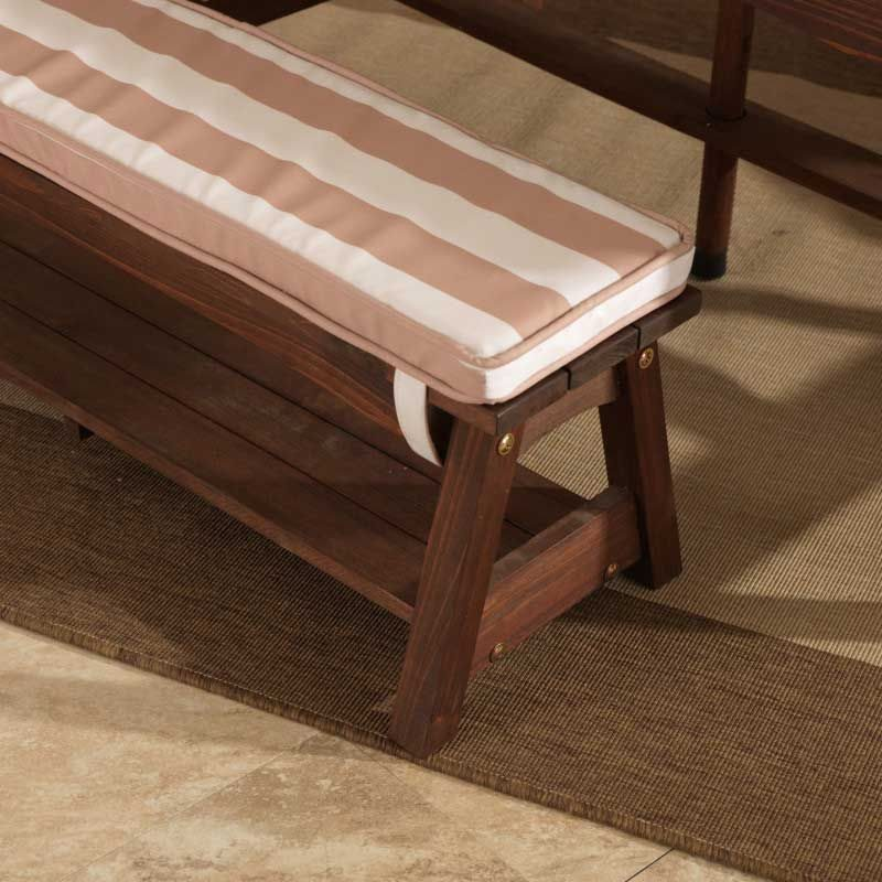 Kidkraft Outdoor Table & Bench Set with Cushions & Umbrella - Oatmeal & White Stripes3