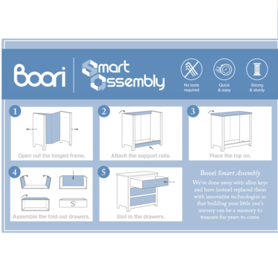Boori Sleigh 3 Drawer Dresser Smart Assembly - Barley White