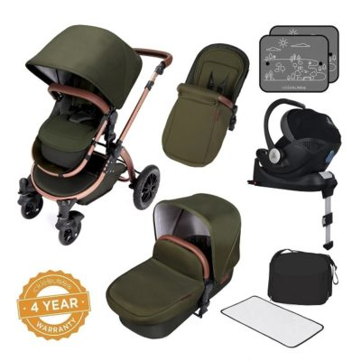 ickle bubba i-size travel system bundle woodland bronze