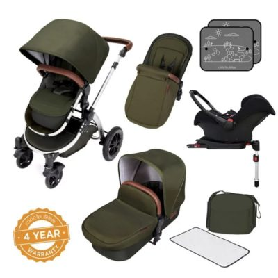 Ickle Bubba Stomp V4 All in One i-Size Isofix Travel System - Woodland Chrome