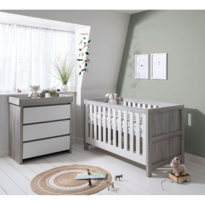 Tutti Bambini Modena 2 Piece Room Set/Mattress - Grey Ash/White