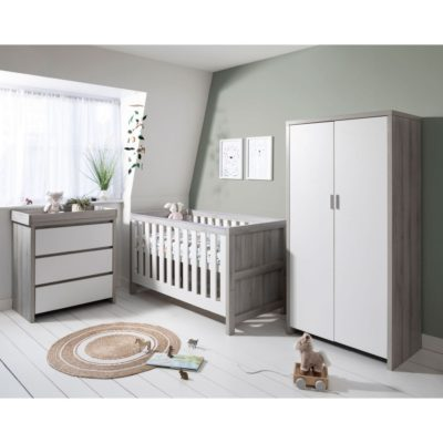 Tutti Bambini Modena 3 Piece Room Set/Mattress - Grey Ash/White