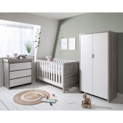Tutti Bambini Modena 3 Piece Room Set/Mattress - Grey Ash/White