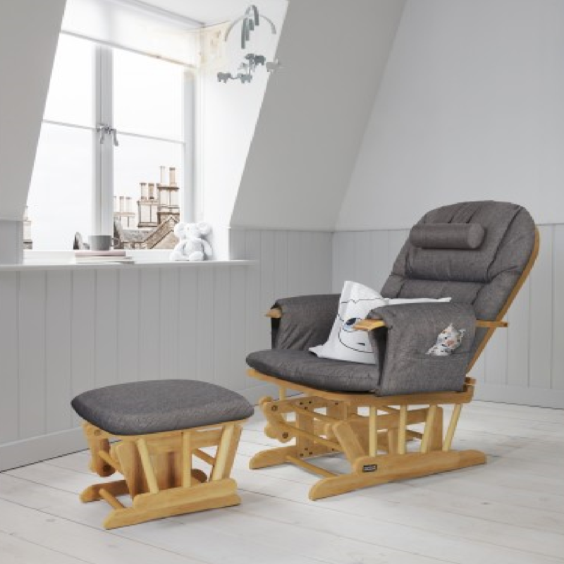Daisy Deluxe Reclining Glider Chair & Stool with Head Support Oak Finish Charcoal