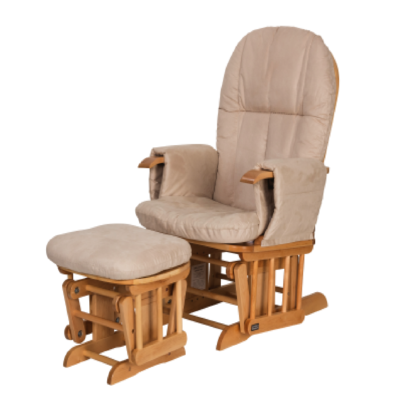 Reclining Glider Chair & Stool - Natural with Cream Cushions