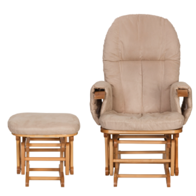 Reclining Glider Chair & Stool - Natural with Cream Cushions TUTTI BAMBINI