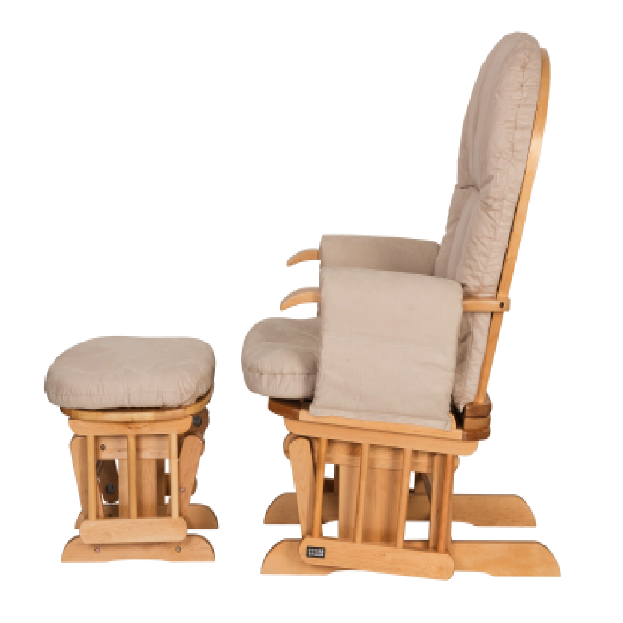 Tutti Bambini Reclining Glider Chair Stool Natural With Cream Cushions