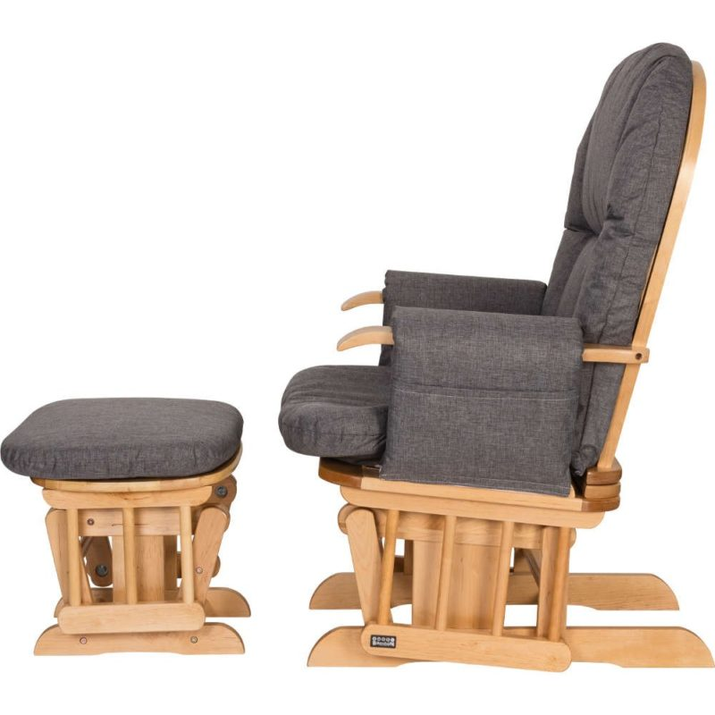 Tutti Bambini Daisy Deluxe Reclining Glider Chair & Stool with Head Support Oak Finish Charcoal
