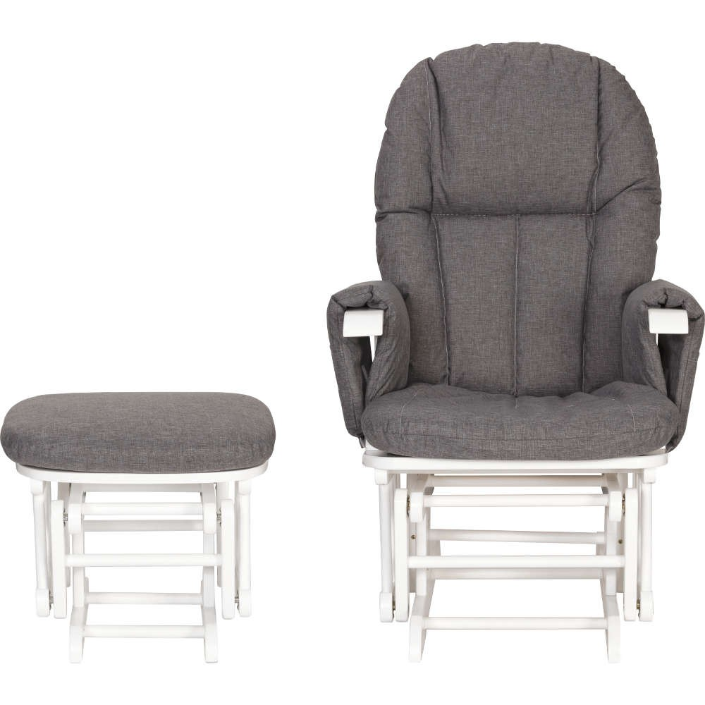 Tutti Bambini Daisy Deluxe Reclining Glider Chair & Stool with Head Support WhiteCharcoal