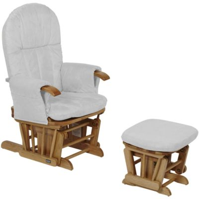 Tutti Bambini Reclining Glider Chair & Stool - Natural with Grey Cushions