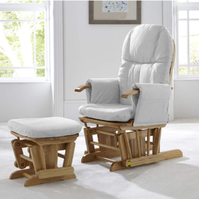 Tutti Bambini Reclining Glider Nursing Chair & Stool (Natural & Grey)