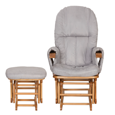 Miraculous Tutti Bambini Reclining Glider Chair Stool Natural With Grey Cushions Pabps2019 Chair Design Images Pabps2019Com