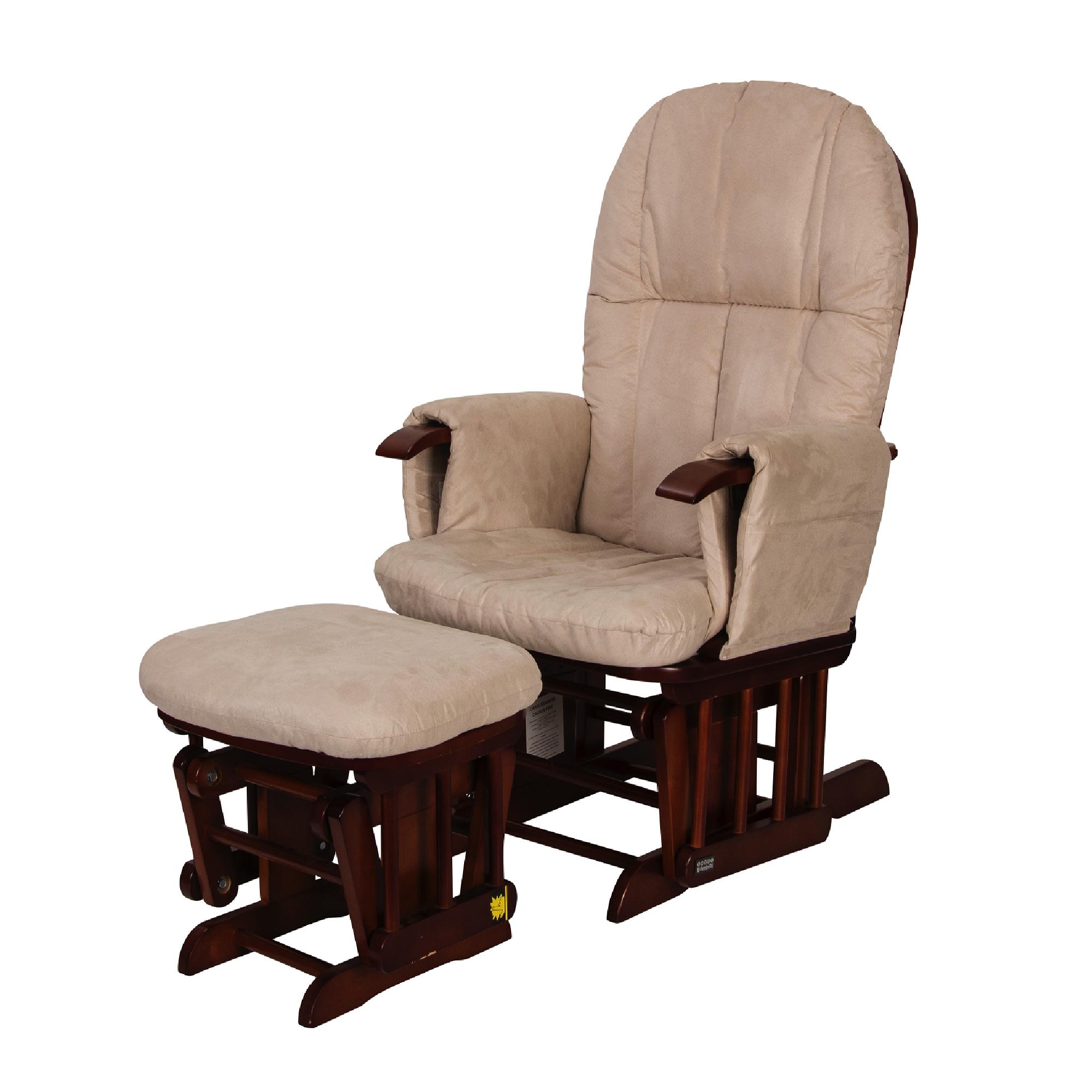 Strange Tutti Bambini Reclining Glider Chair Stool Walnut With Cream Cushions Ncnpc Chair Design For Home Ncnpcorg