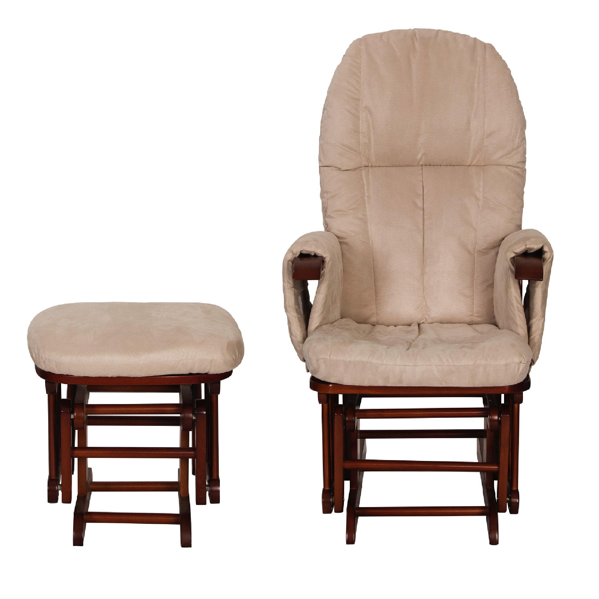 Tutti Bambini Reclining Glider Chair Stool Walnut With Cream Cushions