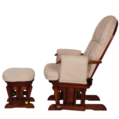 Tutti bambini Reclining Glider Chair & Stool - Walnut with Cream Cushions