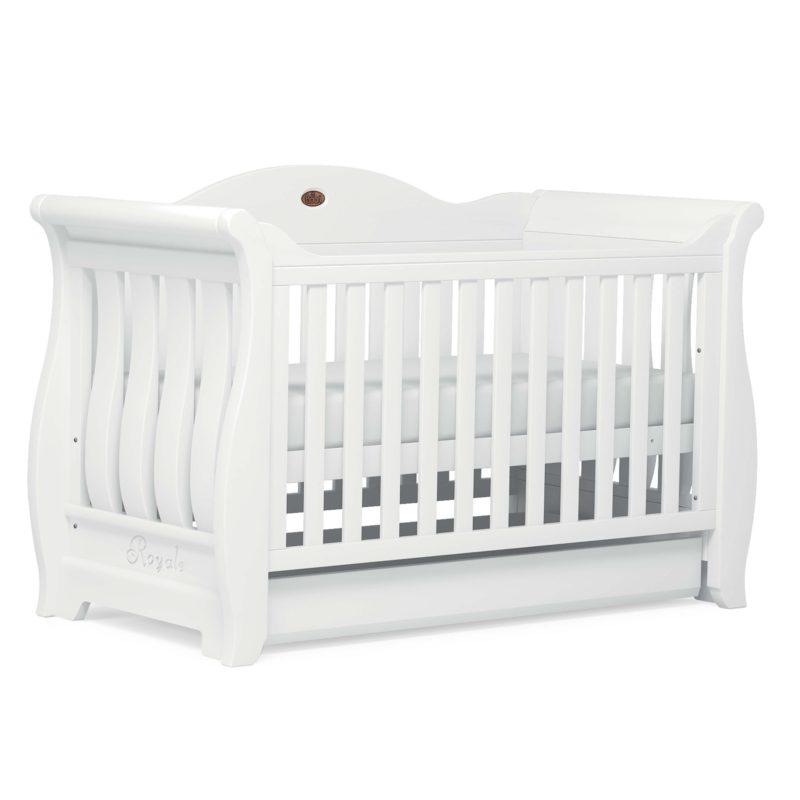 Boori Sleigh Royale Cot Bed - Barley White